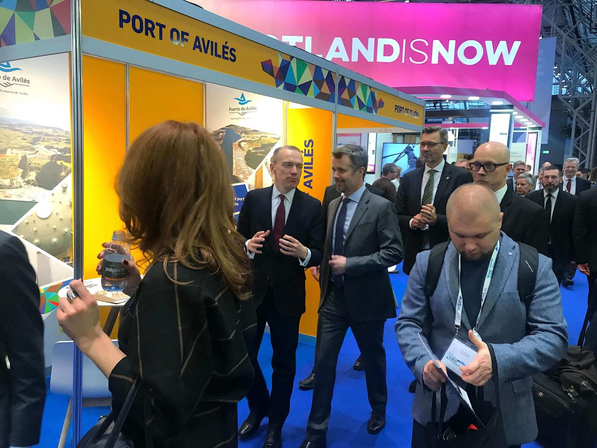 His Royal Highness Crown Prince Frederik of Denmark Asturias stand WindEurope Offshore 2019
